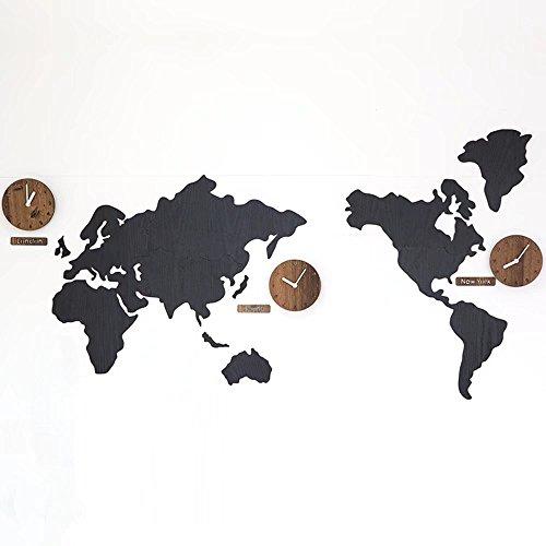MAIKA HOME Kreative Karte Wanduhr, Wohnzimmer Moderne Uhr, amerikanische Wandkarten, dekorative Wanduhr (Farbe: Schwarz)