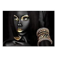 キャンバスポスタープリント壁アート写真アフリカの女性絵画黒人女性スカンジナビアの現代絵画リビングルームの壁80x90cm(32x35in)フレームレス