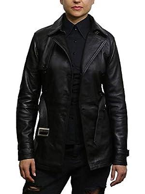 BRANDSLOCK Womens Genuine Leather Biker Jacket Coat (2XL/16, Black)