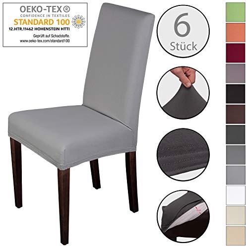 Staboos Stuhlhussen 6er Set aus 96% Baumwolle - Bi-elastische Stretch Stuhlüberzüge - Universal Stuhlbezug - Stuhlabdeckung waschbar & bügelfrei, Hellgrau