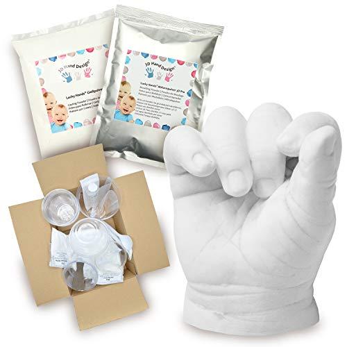 Lucky Hands® Huellas en 3D | Improntas mano | Idea de regalo para el Día de la Madre (D: 7-48 meses | con accesorios, 2-3 moldes)