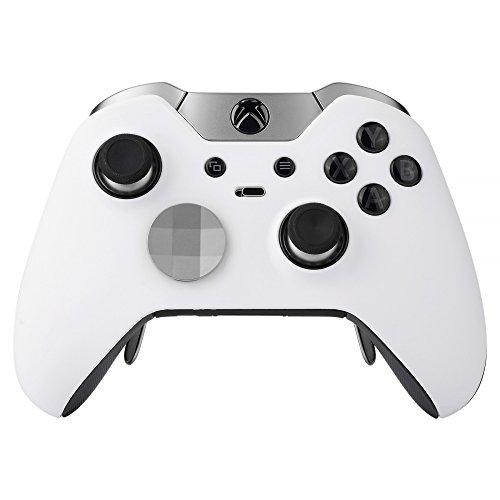 eXtremeRate Cover Custodia Anteriore Case Copertura Frontale Pezzo di Ricambio per Xbox One Elite Controller Model 1698 con 2 Anelli d'Accento(Bianco)