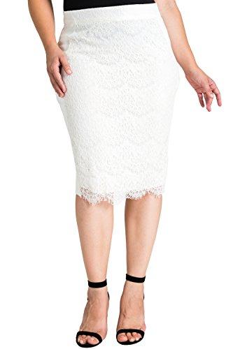 Standards & Practices Plus Size Women's Black Ponte Lace Zipper Pencil Skirt Size 3X Ivory