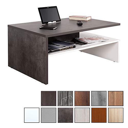 RICOO WM080-W-BG, Kleiner Tisch, 90 x 60 x 42 cm, Holz Hell Weiß und Dunkel Beton-Grau, Fernseher TV Wohnzimmer-Tisch, Couch-Tisch mit Stauraum