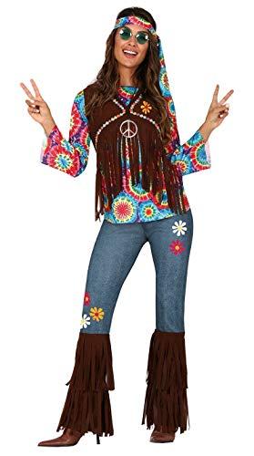 FIESTAS GUIRCA Disfraz de Hippie Hippy Hija de los años 60 Mujer Flores