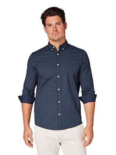 TOM TAILOR Herren Blusen, Shirts & Hemden Gemustertes Hemd Navy Tonal minimal Design,L