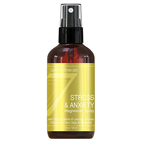 Seven Minerals Stress & Anxiety Magnesium Spray with Organic Blend of Lavender, Roman Chamomile, Clary Sage & Bergamot - 4 fl oz