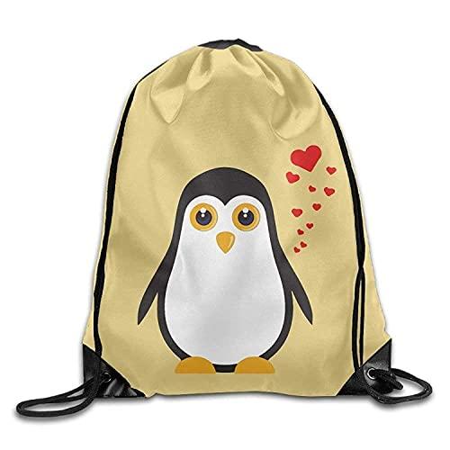 Lsjuee Cute I Love Penguins Print Drawstring Backpack Rucksack Shoulder Bags Gym Bag Sport Bag