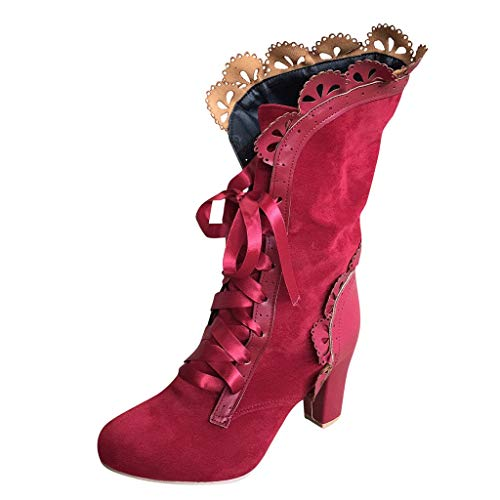 Supertong Damen Stiefeletten Schnürstiefel Mode Elegant High Heels Boots für Hochzeit Party,...