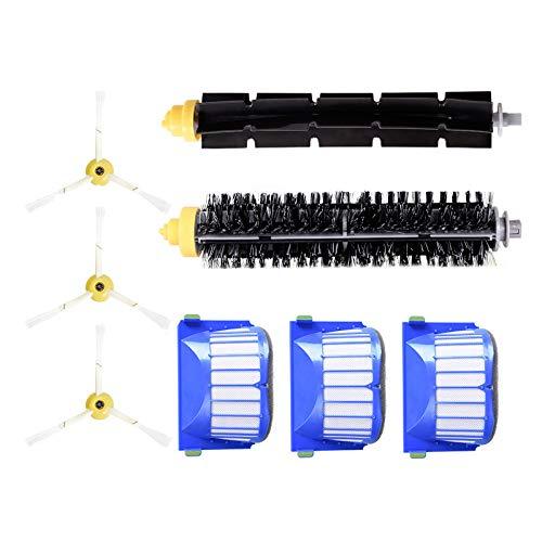 8 Teilig für Roomba 600 Series 605 610 615 616 620 625 630 631 632 639 650 651 660 670 680 681 Saugroboter Ersatzteile Verschleißteile-Set Hepa Filter Seitenbürste Bürsten