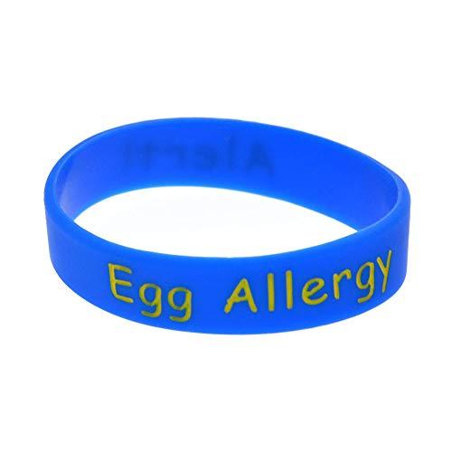 ZWH Pulsera alergia Al Huevo Advertencias De Tamaño Infantil De Silicona Pulsera Brazalete Pulsera For Colorear (Color : Blue)