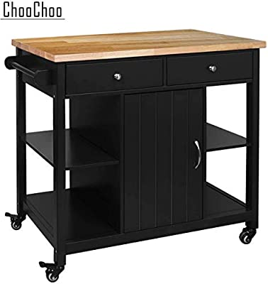 ChooChoo Kitchen Islands on Wheels with Stainless Steel, Wood Top, Utility Wood Kitchen Cart with Storage and Drawers, Easy Assembly by ChooChoo
