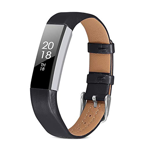 iHillon Compatible with Fitbit Alta (HR)/ Fitbit Ace Bands, Classic Soft Genuine Leather Strap Compatible with Fitbit Alta/Alta Hr/Fitbit Ace Women Men Wristband
