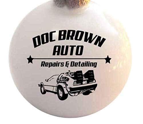 Doc Brown Auto Repairs and Detailing Ceramic Ball Poinsettia Christmas Tree Ornament