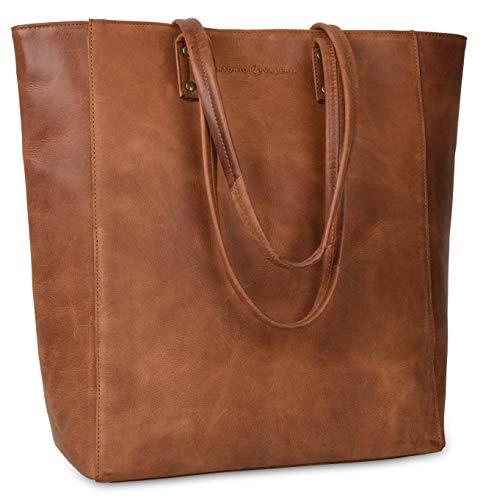 Antonio Valeria Ava Cognac Premium Leather Tote/Top Handle Shoulder Bag for Women