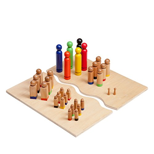 Familienbrett Systembrett mit Figurenset - Familienaufstellung Brettspiel Holzfiguren Set - 32 Figuren - Holz