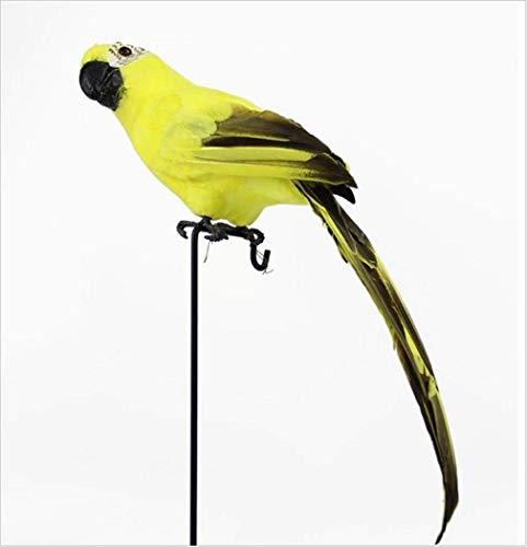 Kreative 45Cm Simulation Papagei über der Gartenmauer Zaun Vogel Dekor Feder Rasen Schaum Figur Ornament Tier Prop Dekoration 45X10Cm Gelb
