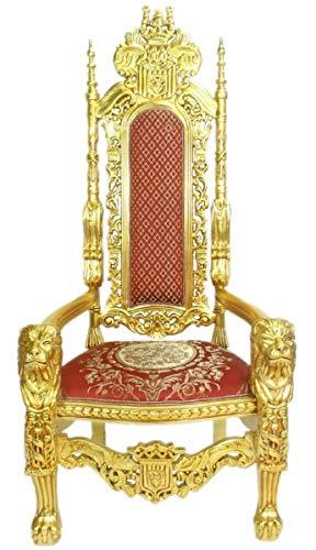 Casa Padrino Sillón Trono Barroco León Rojo/Oro 70 x 60 x H. 180 cm - Suntuoso Sillón Gigante - Silla Real - Sillón de Boda - Muebles Barrocos
