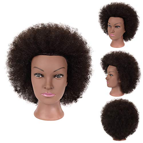 Salon Afro Mannequin Head with African American Mannequin Head100%Human Hair Cosmetology Doll Head Hairdresser Styling Training Head Manikin Head with Mannequin Head for Practice Styling Braiding Hair
