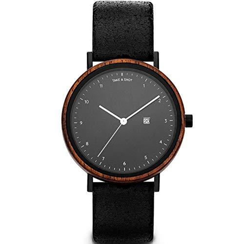 TAKE A SHOT Holzuhr - Holz Armbanduhr für Damen mit Datumsanzeige, Damenuhr mit Gehäuse aus Holz, Lederarmband schwarz, Durchmesser 37 mm, Gwen