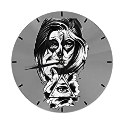 XIVEIER 10 Inch Personalized Mexican Style Clipart Creative Mark Wall Clock for Office