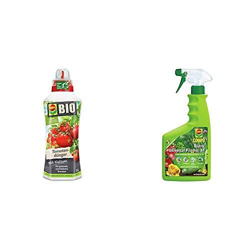 Compo Bio Tomatendünger für alle Tomatenpflanzen, Natürlicher Spezial-Flüssigdünger, 1 Liter & Duaxo Universal Pilz-frei AF, Bekämpfung von Pilzkrankheiten an Zierpflanzen, Gemüse und Kräutern, 750ml