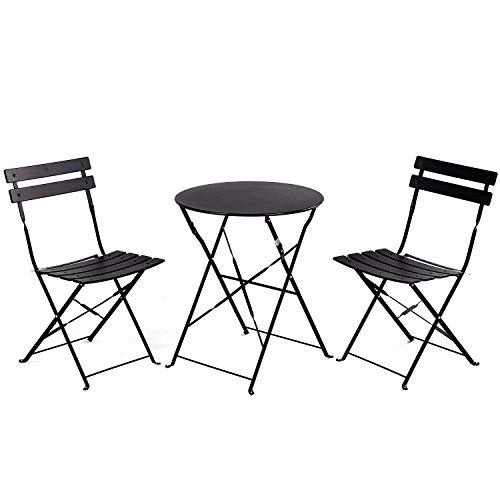 tavolino da salotto ferro battuto FRANKYSTAR Set Retro Bistro 2 sedie + tavolino Pieghevole salvaspazio per Giardino
