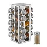 Relaxdays Gewürzkarussell mit 20 Gewürzgläsern, 360° drehbar, Edelstahl, Glas, HxD 33 x 20 cm, Gewürzregal eckig, silber, 10032730