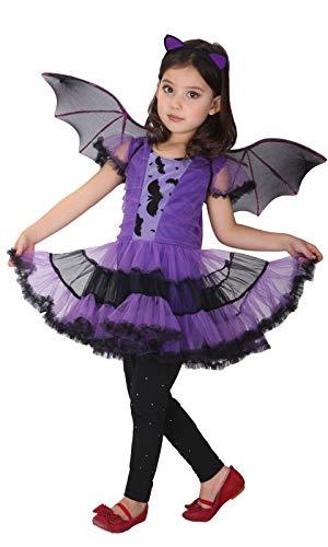 GEMVIE Déguisement Chauve-Souris Fille Costume Vampire Chauve-Souris Cosplay Halloween Toussaint Carnaval Soirée Robe Tutu pour Fille 3-12 Ans (7-9 ans)