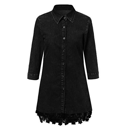 NHNKB Vestido vaquero negro para mujer, disfraz steampunk, para otoño e invierno, para Halloween, estilo informal