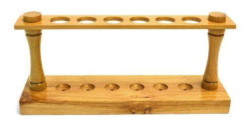 Eisco Labs Premium Wooden Test Tube Rack, (6) 22mm Holes, 9.5