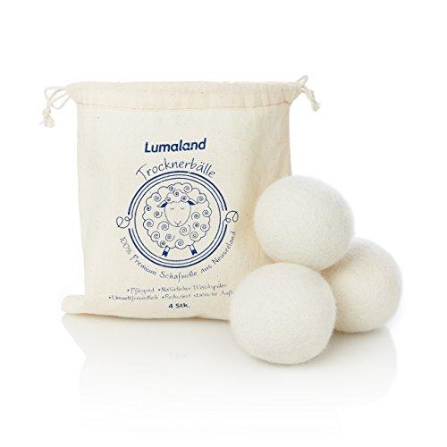 Lumaland Trocknerbälle aus 100 % Premiumwolle von Neuseelandschafen natürlicher Weichspüler aus Wolle 4 Stück
