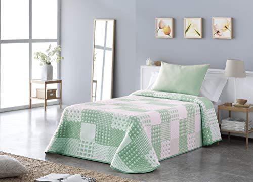 Vialman sprei, groen, voor bed met 135 cm breedte: 230 cm x 270 cm