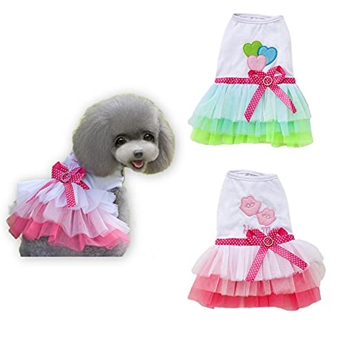 DaFuEn 2 Pcs Dog Dresses for Small Dogs Girl Dog Wedding Dress Dogs Dog Summer Clothes Puppy Cat Outfit for Chihuahua Thunder French Bulldog Dachshund Shitzu (X-Small)