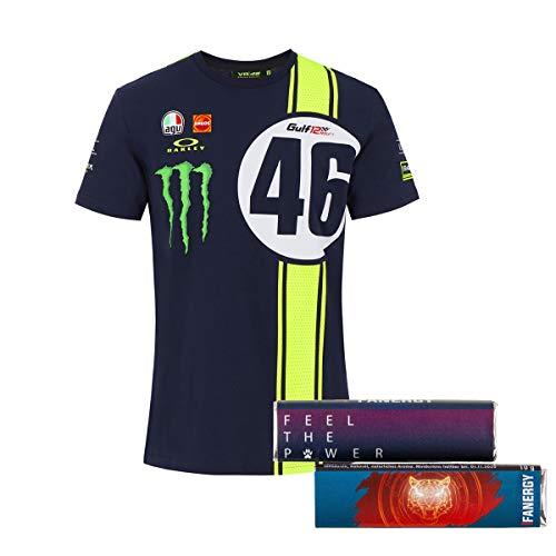 Valentino Rossi T-Shirt Oberteil Abu Dhabi 12h MotoGP Fanartikel Merchandise Herren Männer blau + 2X FANERGY Traubenzucker (M)