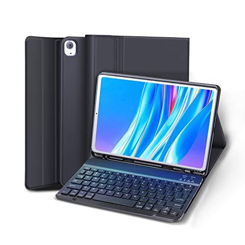 Funda con Teclado Español Ñ para iPad 10.2 8ª/7ª Generación 2020 2019/iPad Air 3 2019/iPad Pro 10.5 2017, Teclado Desmontable con Magnétic Funda Protectora, Negro