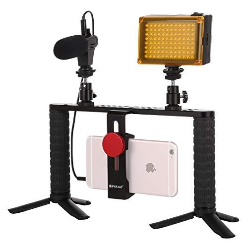 Camera Accessoire 4 in 1 Live Broadcast LED Selfie Licht Smartphone Video Rig Handvat Stabilizer Aluminium Beugel Kits met Microfoon + Statief Mount + Koud Schoen Statief Hoofd