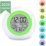 TooTa Kids Digital Alarm Clock, 7 Color Night Light, Snooze, Temperature Detect for Toddler, Children Boys and Girls, Students to Wake up at Bedroom, Bedside, Batteries Operated