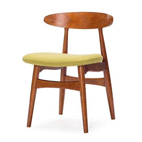 Rollsnownow Coussin vert à manger chaise en bois massif dossier chaise bureau chaise bureau et chaise Cafe tables et chaises rétro (Color : Red-brown)