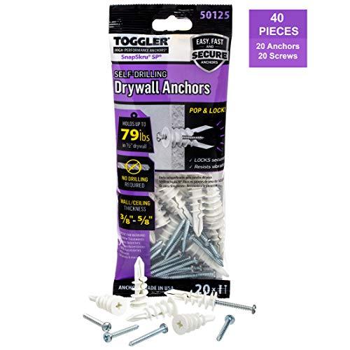 TOGGLER SnapSkru Self-Drilling Drywall Anchor (Pack of 20)