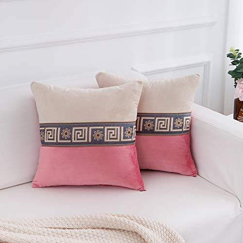 FabThing Fodere Cuscini Divano Velluto Classico Federe Cuscini Decorativi Copricuscini Vintage per Salotto Letto Casa 2 Pezzi 45x45cm Rosa