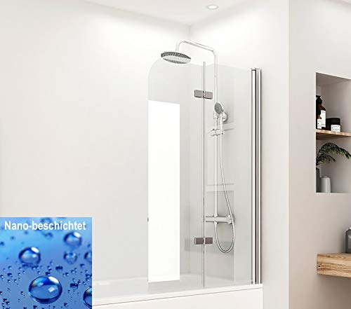 Meykoers Duschwand Badewannenaufsatz 120x140cm Faltwand für Badewanne, Duschabtrennung faltbar aus 6mm ESG Sicherheitsglas Nano Beschichtet