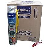 QUILOSA - Pack espuma poliuretano tejas Orbafoam Quilosa color gris cánula 12 unidades Edición Especial Bricolemar con llavero abrebotellas