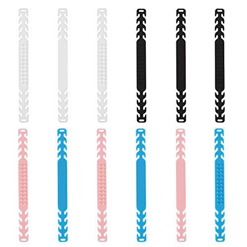 HAUSPROFI Accessori Prolunga Regolabili,12 Pezzi Protezione Orecchio Antiscivolo per Mascherine, Fibbia di Prolunga per Adulti, Bambini e Anziani (Nero, Bianco, Rosa, Blu, Trasparente)