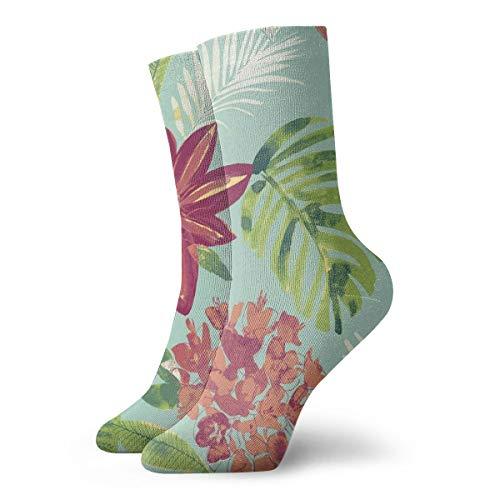 BJAMAJ Unisex Socken Tropische Pflanzen-Geflecht Muster Interessante Polyester Crew Socken Erwachsene Socken Baumwolle
