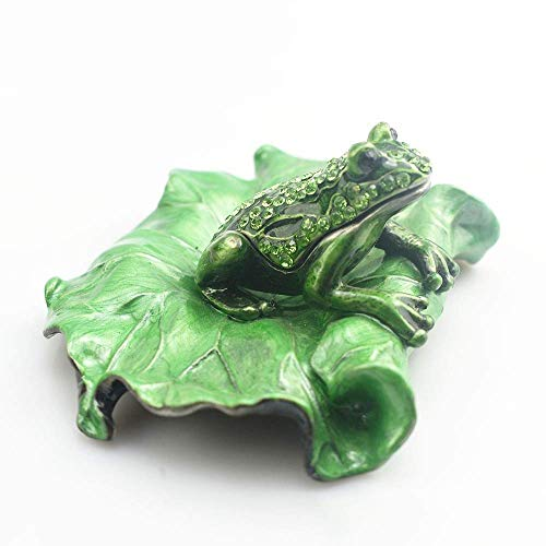 Creative Portable Painted Lotus Leaf Frog Inlaid Rhinestone Jewelry Box Home Living Room Office Storage Box Ornament Metal Craft Gift Delicate beautiful