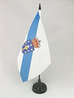 AZ FLAG Galicia Table Flag 5'' x 8'' - Spanish Region of Galicia Desk Flag 21 x 14 cm - Black Plastic Stick and Base