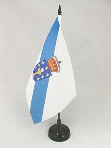 AZ FLAG Bandera de Mesa de Galicia 21x14cm - BANDERINA de DESPACHO GALLEGA 14 x 21 cm