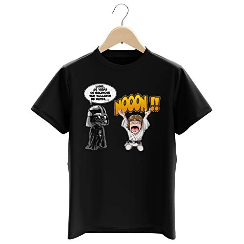 T-Shirt Enfant Garçon Noir Parodie Star Wars - Luke Skywalker et Dark Vador - Luke Life Episode I : Un père Qui craint : (T-Shirt Enfant de qualité Premium de Taille 9-10 Ans - imprimé en France)