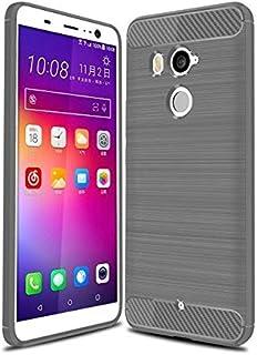 كفر حماية كاربون فايبر مخطط مرن لون رمادي لجوال إتش تي سي يو11 بلس  HTC U11 PLUS